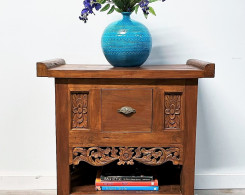 Reclaimed Teak Carved Indonesian Side Table with Drawer