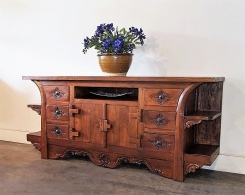 Reclaimed Teak Carved Old Plow Console Cabinet