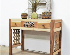 Spalted Wood Top Carved Console Table