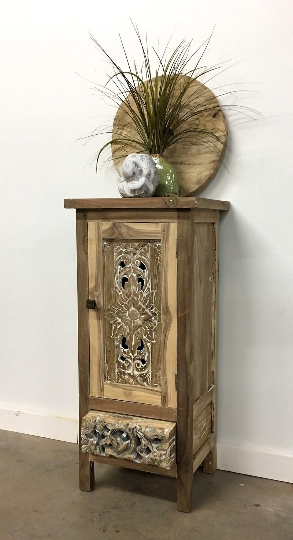 Bleached Teak Carved Side Cabinet