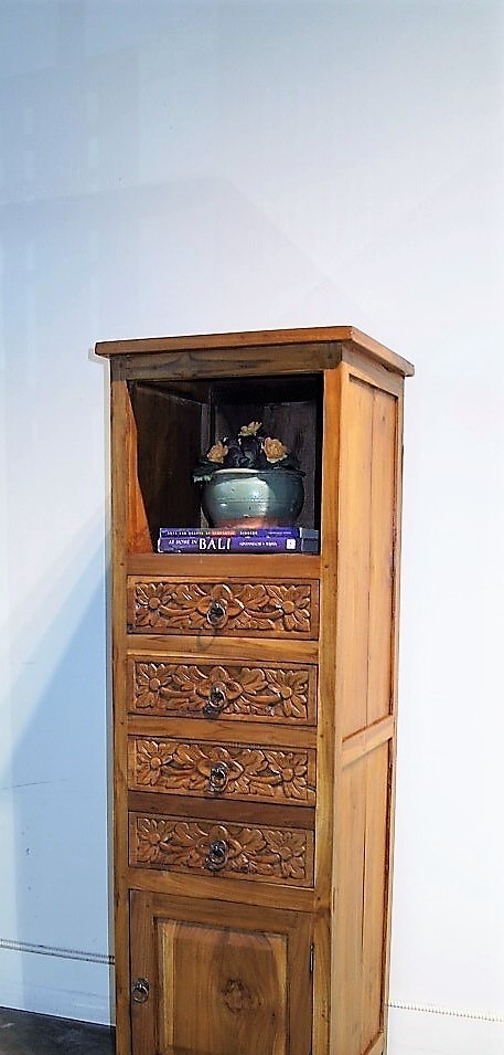 Carved Drawer Indonesian Display Cabinet