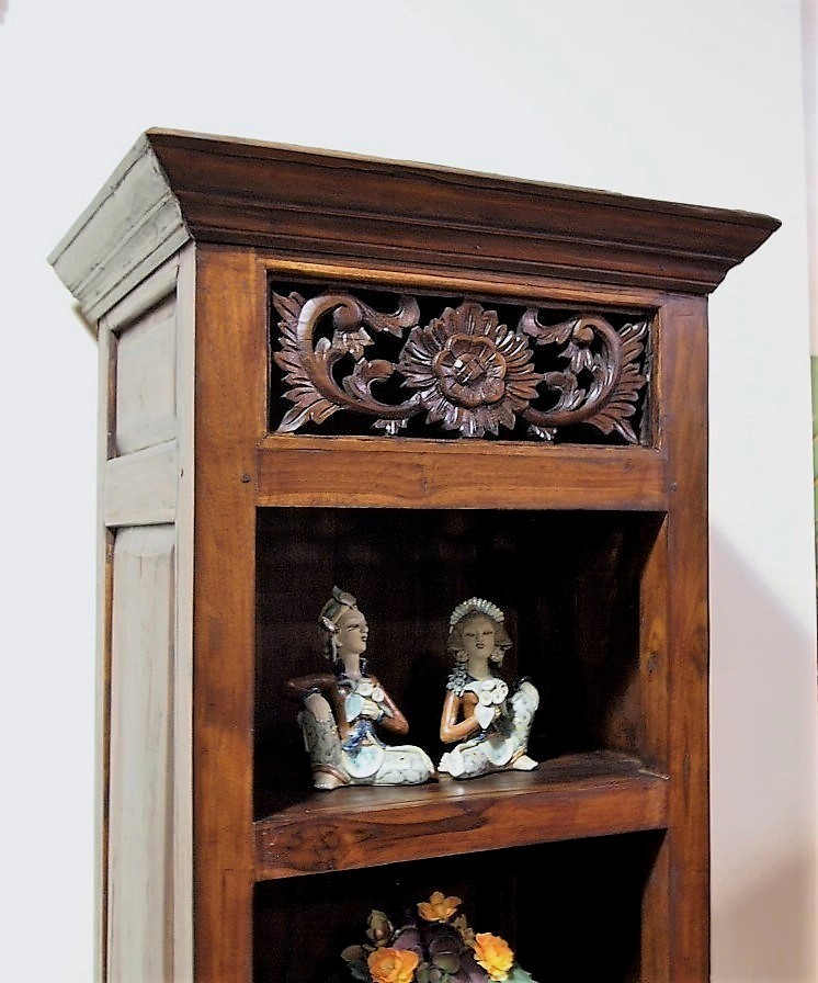 Carved Panel Bali Display Cabinet