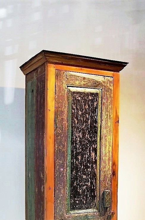 Distressed Painted Tall Bali Cabinet