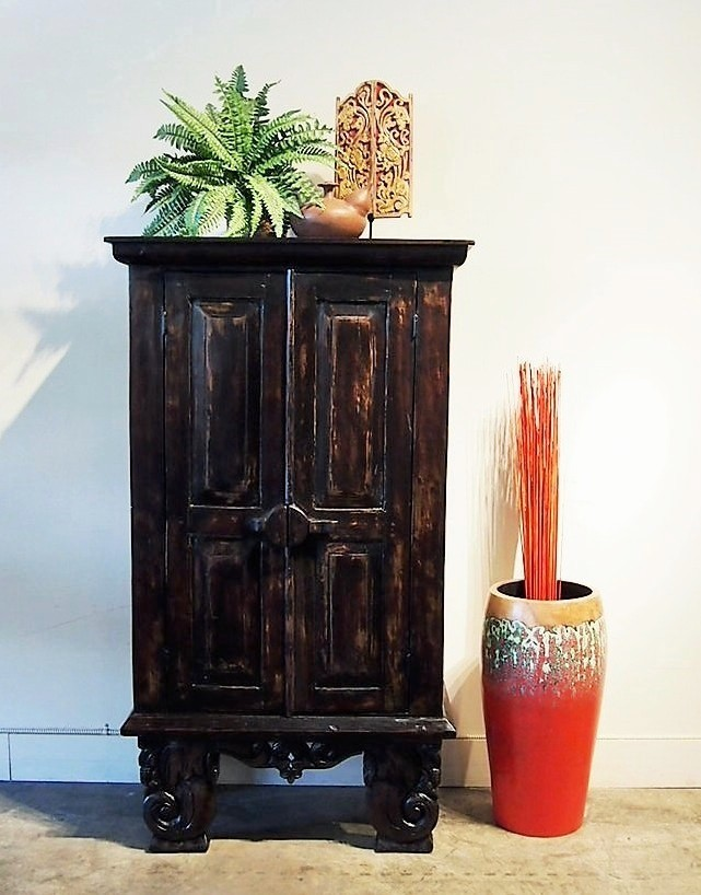 Espresso Finished Indonesian Cabinet with Carved Legs