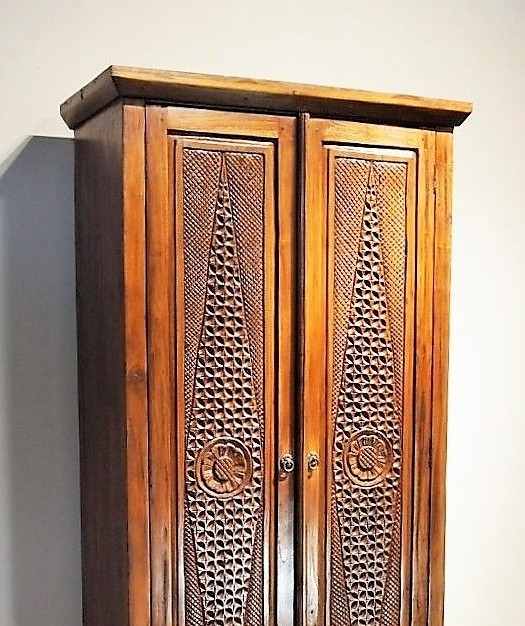 Reclaimed Teak Carved Indonesian Cabinet