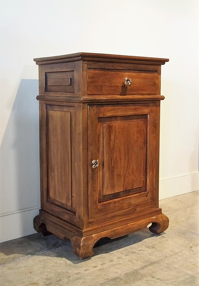 Reclaimed Teak Curved Leg Cabinet with Solid Brass Floral Hardware