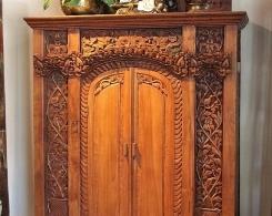 Reclaimed Teak Antique Style Carved Java Cabinet