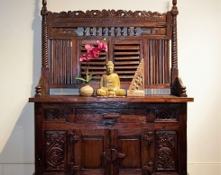 Reclaimed Teak Indonesian Console Cabinet with Shutter Screen