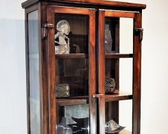 Teak Beveled Glass Cabinet