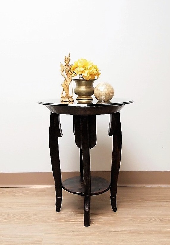 Old Loom Accent Table with Glass