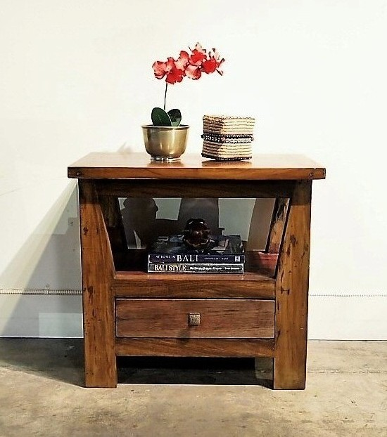 Open Shelf Side Table with Drawer
