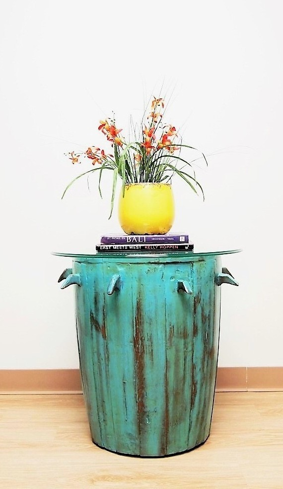Painted Barrel Accent Table with Glass Top