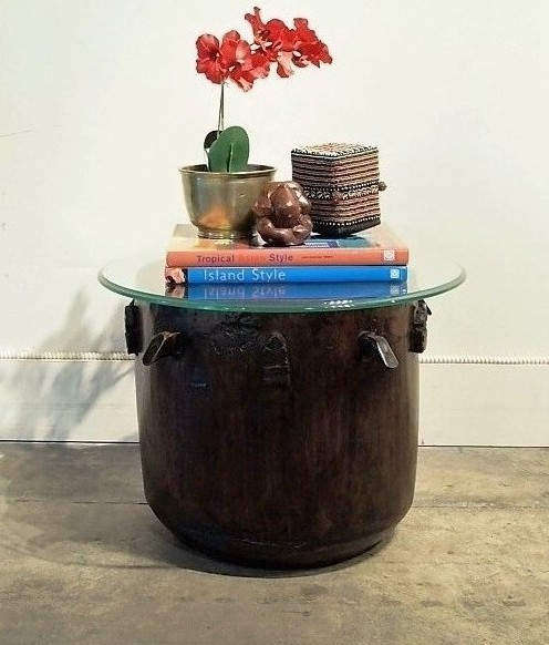Round Tribal Side Table with Glass Top 2