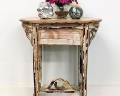 Distressed Mahogany Wood Accent Table