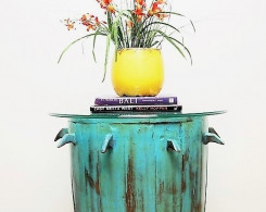 Painted Barrel Accent Tablewith Glass Top