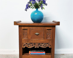 Reclaimed Teak Carved Indonesian Side Table with Drawer at Gado Gado