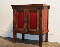 Reclaimed Wood Painted Side Table Nightstand
