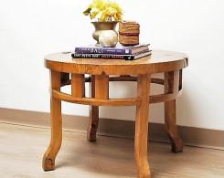 Round Teak Burl Table