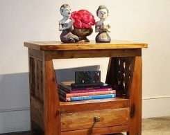 Rustic Open Shelf Nightstand with Drawer