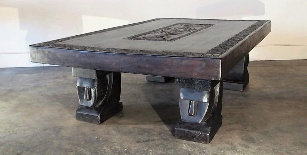 Large Single Slab Carved Tribal Coffee Table