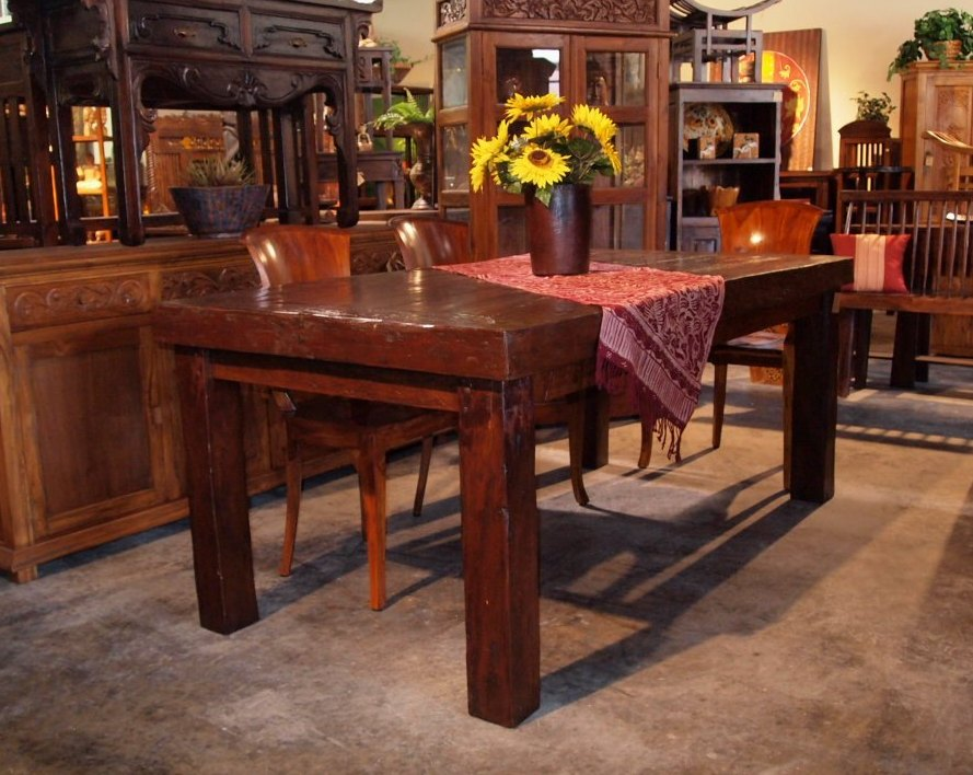 Massive Top Reclaimed Wood Dining Table