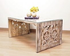 Hand Carved Reclaimed Wood Coffee Table Whitewash Finish