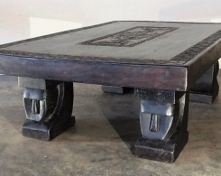 Large Single Slab Carved Tribal Coffee Table