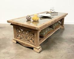 Organic Modern  Reclaimed Teak Carved  Coffee Table