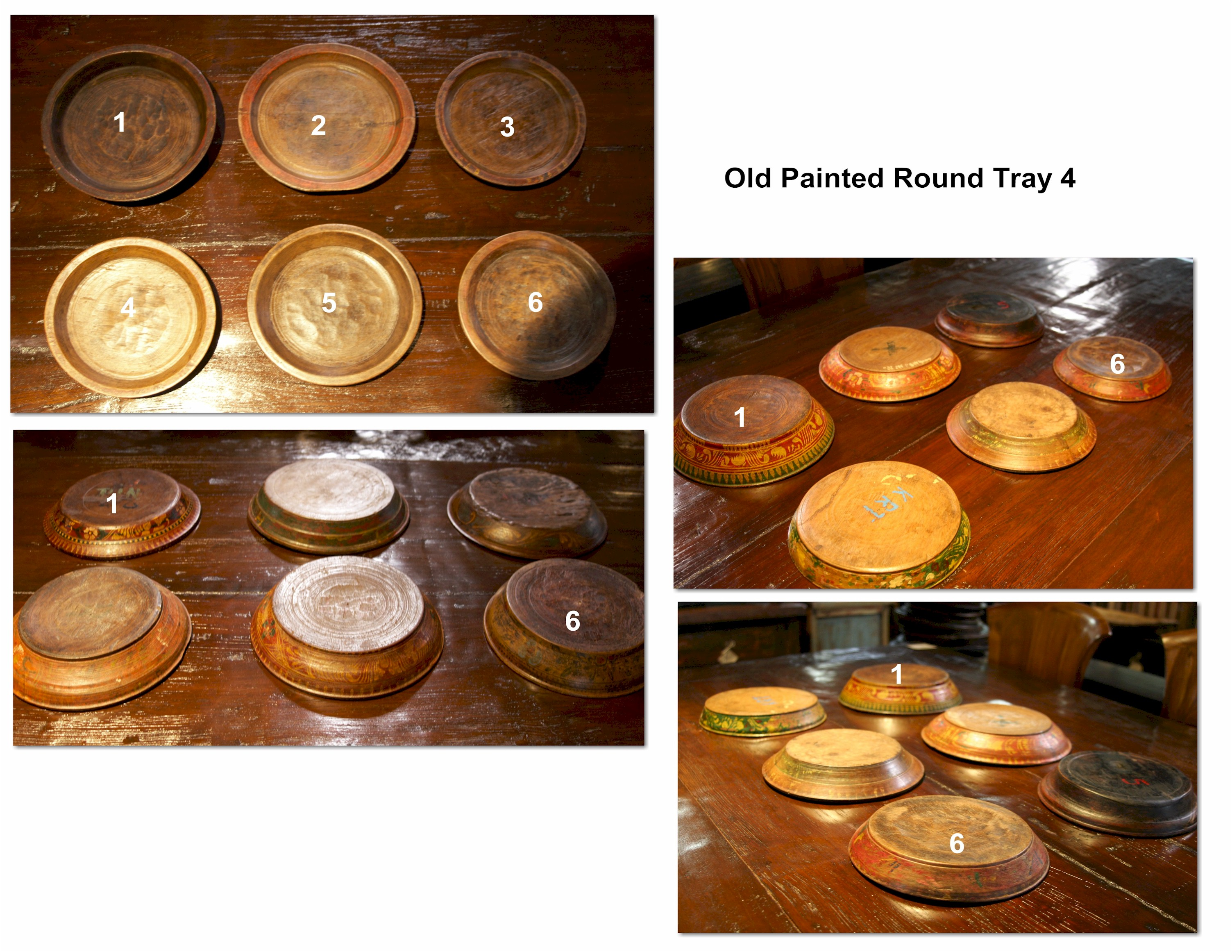Old Painted Round Tray 4