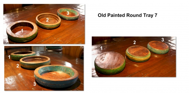 Old Painted Round Tray 7