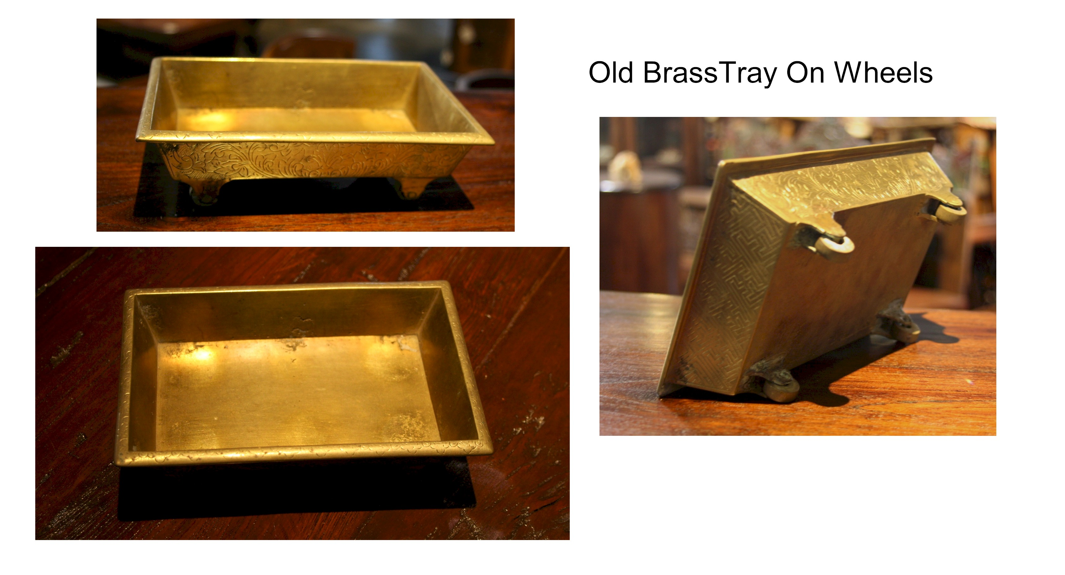 Old BrassTray On Wheels