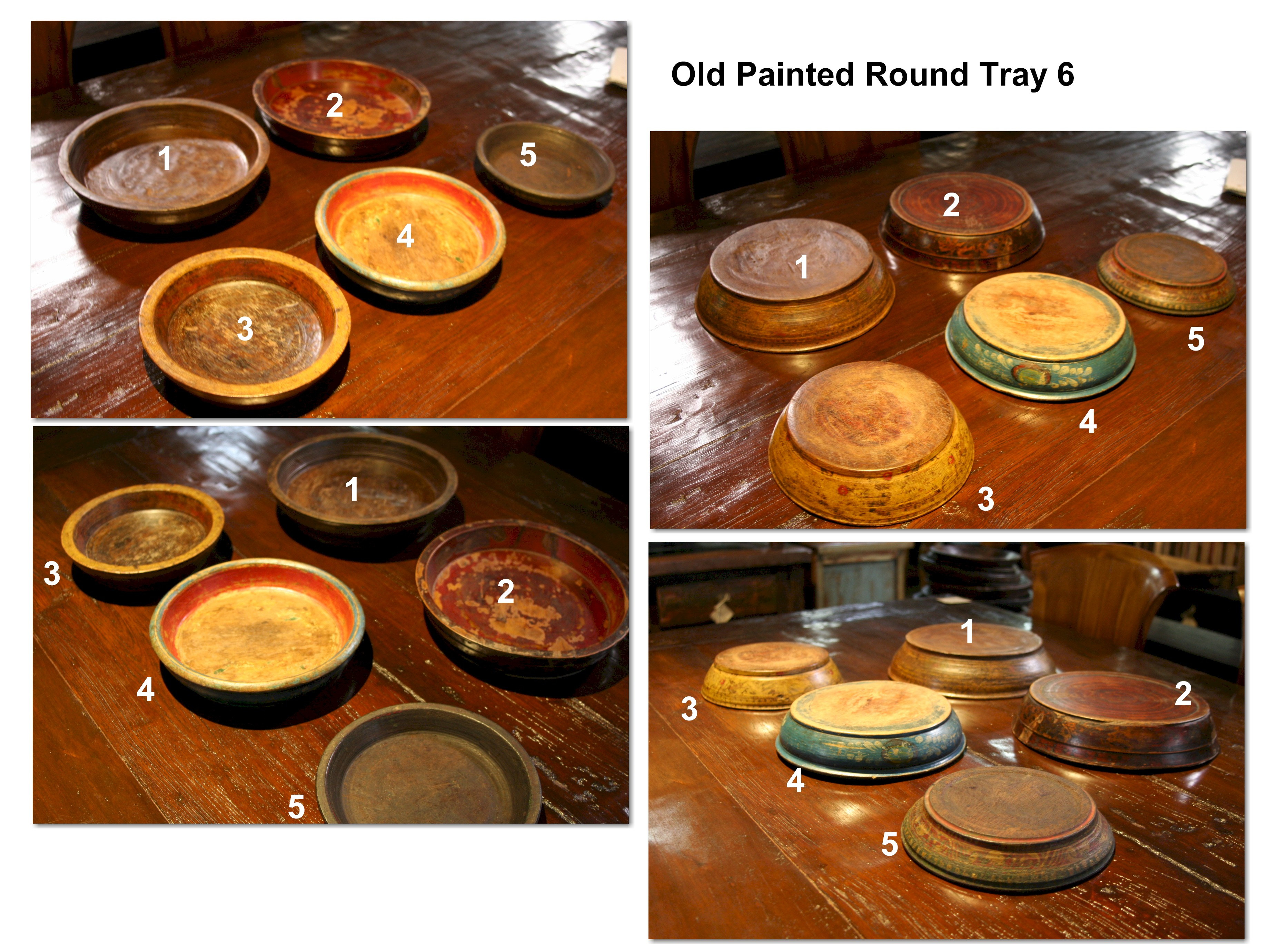Old Painted Round Tray 6