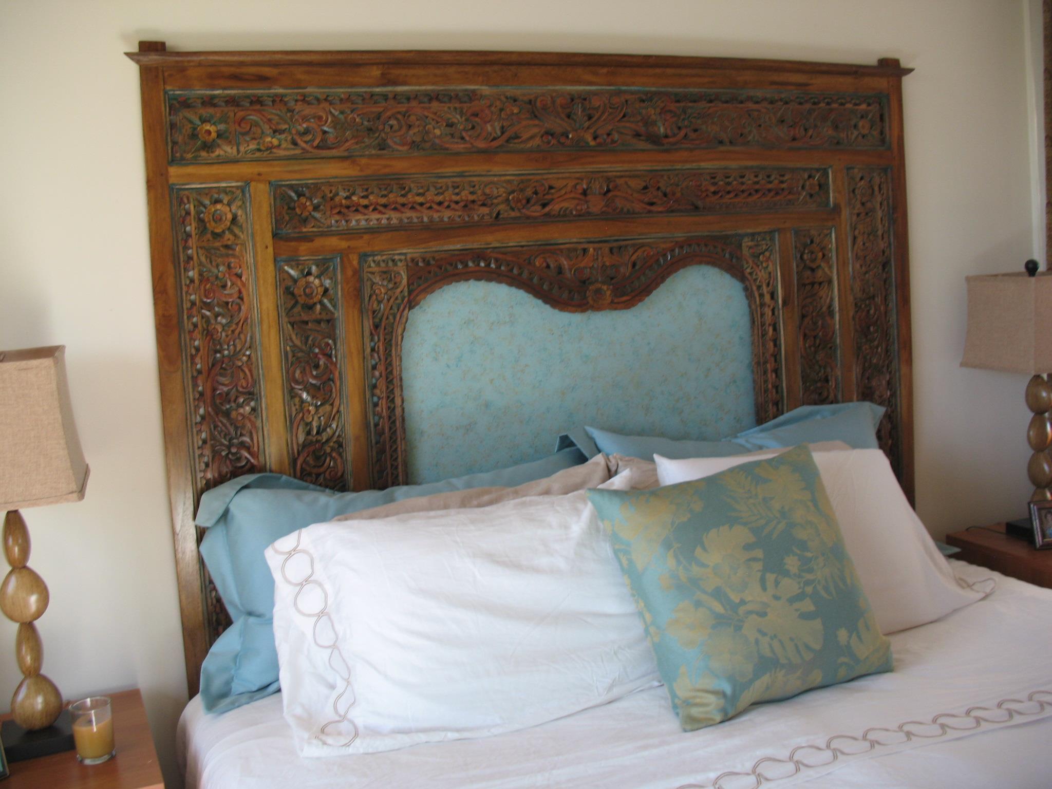 Indonesian carved bed panel as headboard gado gado - Bedroom furniture made in indonesia ...